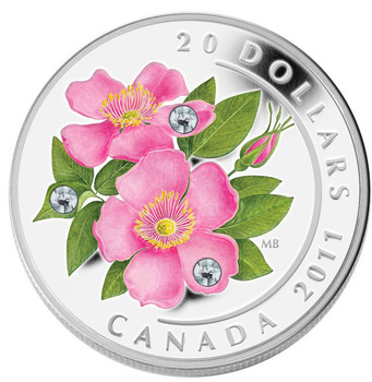 2011 $20 COLOURED SILVER COIN - WILD ROSE