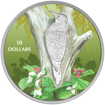 2017 $10 FINE SILVER COIN BIRDS AMONG NATURE'S COLOURS - NORTHERN FLICKER