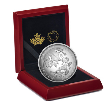2017 $50 FINE SILVER COIN MAPLE LEAVES IN MOTION (5OZ. CONVEX)