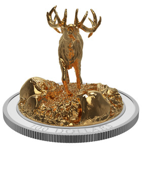 2017 $100 FINE SILVER COIN SCULPTURE OF MAJESTIC CANADIAN ANIMALS: ELK