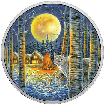2017 $30 FINE SILVER COIN ANIMALS IN THE MOONLIGHT: LYNX