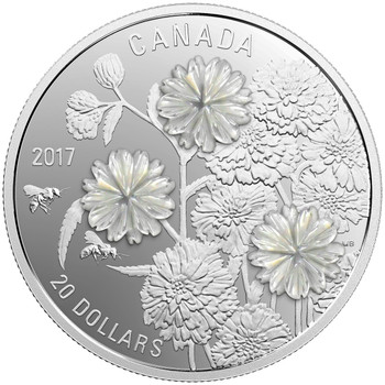 2017 $20 FINE SILVER COIN - PEARL FLOWERS