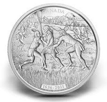 2011 $250 KILO SILVER COIN - 375TH ANNIVERSARY OF THE FIRST EUROPEAN OBSERVATION OF LACROSSE - QUANTITY SOLD: 591
