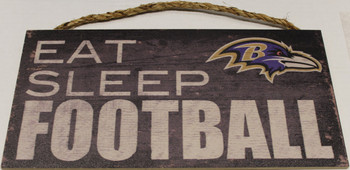 "BALTIMORE RAVENS - OFFICIAL NFL EAT SLEEP FOOTBALL 6 X 12"" WOODEN SIGN"