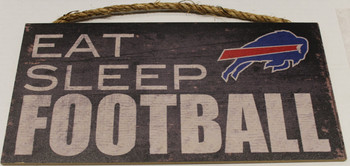 "BUFFALO BILLS - OFFICIAL NFL EAT SLEEP FOOTBALL 6 X 12"" WOODEN SIGN"