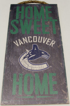"VANCOUVER CANUCKS OFFICIAL NHL HOME SWEET HOME 6 X 12"" WOODEN SIGN"