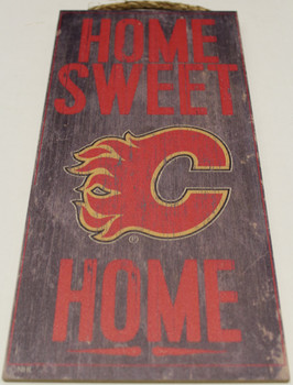 """CALGARY FLAMES OFFICIAL NHL HOME SWEET HOME 6 X 12"""" WOODEN SIGN"""