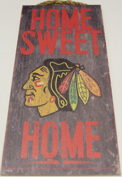 """CHICAGO BLACKHAWKS OFFICIAL NHL HOME SWEET HOME 6 X 12"""" WOODEN SIGN"""