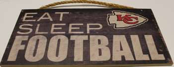 "KANSAS CITY CHIEFS - OFFICIAL EAT SLEEP FOOTBALL  6 X 12"" WOODEN SIGN"