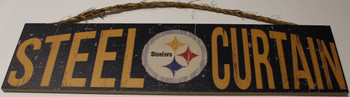 """PITTSBURGH STEELERS - OFFICIAL STEEL CURTAIN 4 X 16"""" WOODEN SIGN"""