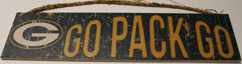 """GREEN BAY PACKERS - OFFICIAL GO PACK GO 4 X 16"""" WOODEN SIGN"""