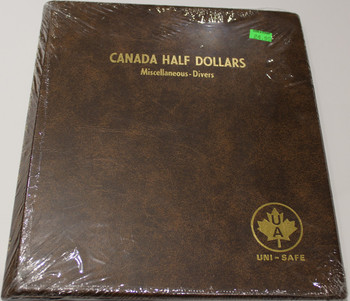 UNI-SAFE EMBOSSED BROWN COIN ALBUM - VOL 163 - CANADA HALF DOLLARS (50 CENT PIECES) MISCELLANEOUS-DIVERS