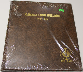UNI-SAFE EMBOSSED BROWN COIN ALBUM - VOL 167 - CANADA LOON DOLLARS (LOONIES) 1987-DATE