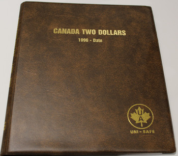 UNI-SAFE EMBOSSED BROWN COIN ALBUM - VOL 168 - CANADA TWO DOLLARS (TWONIES) 1996-DATE