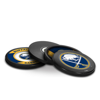 BUFFALO SABRES NHL HOCKEY PUCK COASTERS - 4-PACK