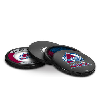 COLORADO AVALANCHE NHL HOCKEY PUCK COASTERS - 4-PACK
