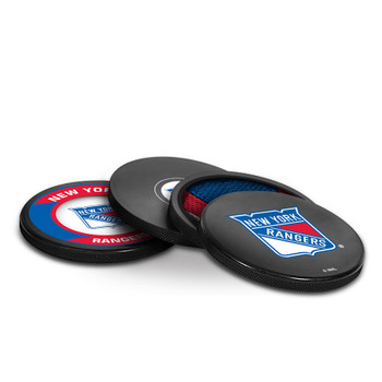 NEW YORK RANGERS NHL HOCKEY PUCK COASTERS - 4-PACK