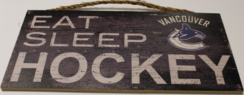 """VANCOUVER CANUCKS OFFICIAL NHL EAT SLEEP HOCKEY 6 X 12"""" WOODEN SIGN"""