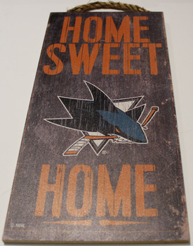 "SAN JOSE SHARKS OFFICIAL NHL HOME SWEET HOME 6 X 12"" WOODEN SIGN"