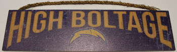 """SAN DIEGO CHARGERS - OFFICIAL HIGH VOLTAGE 4 X 16"""" WOODEN SIGN"""