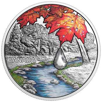 2017 $20 PURE SILVER COIN JEWEL OF THE RAIN: SUGAR MAPLE LEAVES
