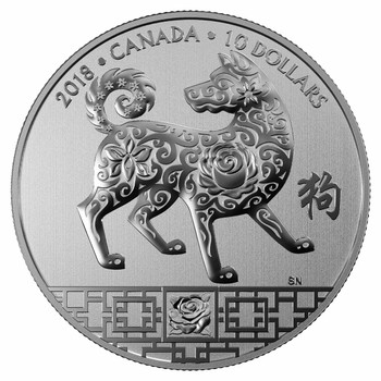 2018 $10 FINE SILVER COIN YEAR OF THE DOG