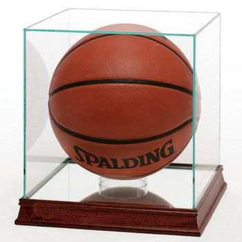 GLASS BASKETBALL DISPLAY CASE WITH WOOD BASE