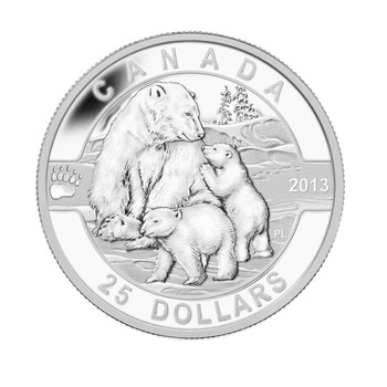 2013 $25 FINE SILVER COIN O CANADA SERIES - THE POLAR BEAR