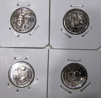 4 SCARCE 2012 CANADIAN QUARTERS - BIRTHDAY - BABY - CHRISTMAS & WEDDING 25-CENT