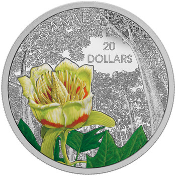 2015 $20 FINE SILVER COIN FORESTS OF CANADA: CAROLINIAN TULIP-TREE