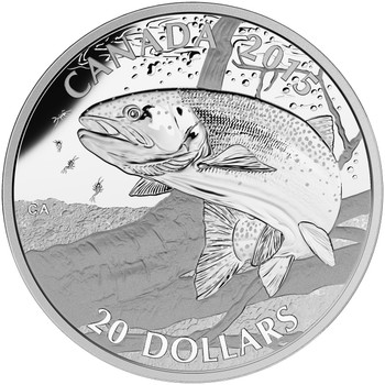 2015 $20 FINE SILVER COIN NORTH AMERICAN SPORTFISH: RAINBOW TROUT