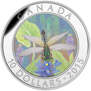 2015 $10 FINE SILVER COIN DRAGONFLY: PYGMY SNAKETAIL
