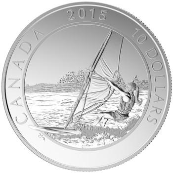 2015 $10 FINE SILVER COIN ADVENTURE CANADA - WINDSURFING