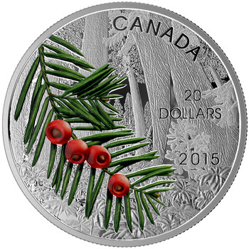 2015 $20 FINE SILVER COIN FORESTS OF CANADA: COLUMBIAN YEW TREE