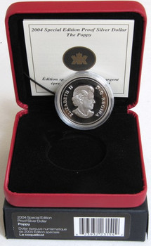 2004 PURE SILVER COMMEMORATIVE PROOF SILVER DOLLAR - THE POPPY