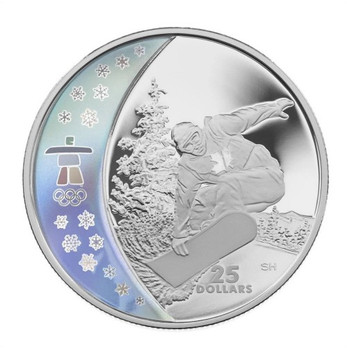 2008 $25 STERLING SILVER COIN - SNOWBOARDING