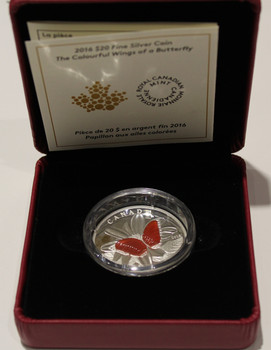 SALE - 2016 $20 FINE SILVER COIN THE COLOURFUL WINGS OF A BUTTERFLY