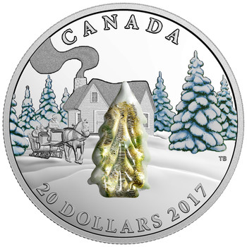 2017 $20 FINE SILVER COIN SNOW-COVERED TREES - MURANO GLASS