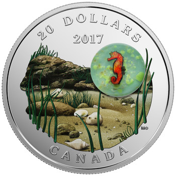 2017 $20 FINE SILVER COIN UNDER THE SEA: SEAHORSE