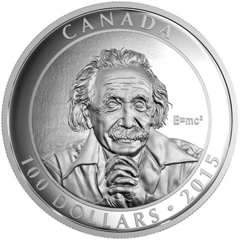 2015 $100 FINE SILVER COIN CELEBRATING CANADIAN PHOTOGRAPHER YOUSUF KARSH ALBERT EINSTEIN SPECIAL THEORY OF RELATIVITY