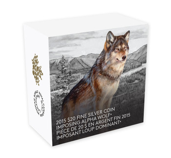 2015 $20 FINE SILVER COIN - MAJESTIC ANIMALS - IMPOSING ALPHA WOLF