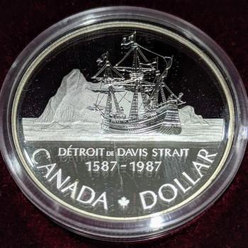 Canada 1987 Davis/' North West Passage Proof Gem UNC Silver Dollar!!