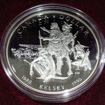 1990 PROOF COMMEMORATIVE SILVER DOLLAR - HENRY KELSEY TRICENTENNIAL