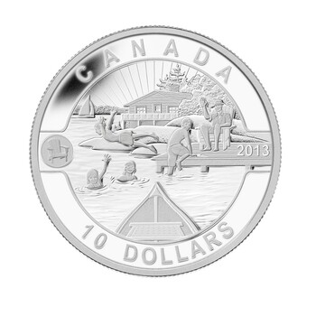 2013 $10 FINE SILVER COIN O CANADA SERIES - CANADIAN SUMMER FUN