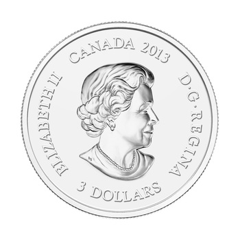 2013 $3 FINE SILVER COIN- MAPLE LEAF IMPRESSION