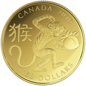 2016 $150 GOLD COIN YEAR OF THE MONKEY