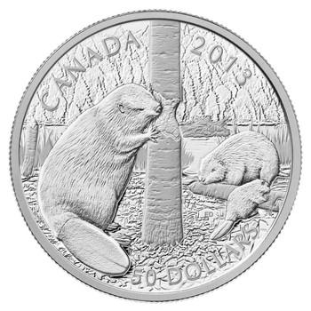 2013 $50 FINE SILVER 5-OUNCE COIN - THE BEAVER
