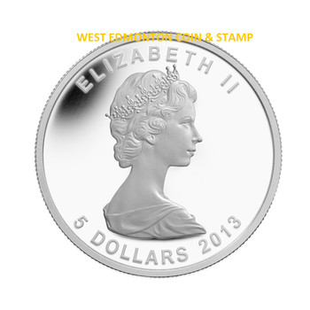 2013 $5 FINE SILVER & GOLD PLATED COIN - 25TH ANNIVERSARY OF THE SILVER MAPLE LEAF