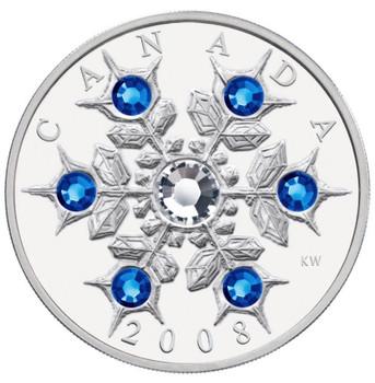 2008 $20 FINE SILVER COIN - CRYSTAL SWAROVSKI SAPPHIRE SNOWFLAKE