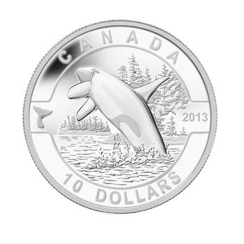 2013 $10 FINE SILVER COIN O CANADA SERIES - ORCA - KILLER WHALE